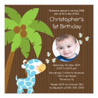 Photo Safari Jungle Giraffe Kid Birthday Party Custom Invitation