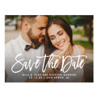 Photo Save the Date | Brush Lettered Script Postcard