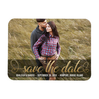 Photo Save The Date |  Faux Gold Rectangular Photo Magnet