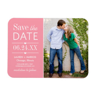 Photo Save the Date | Light Pink Rectangular Photo Magnet