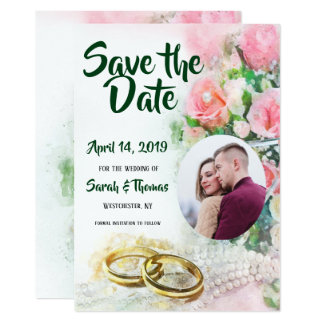 Photo Save the Date Pink Roses and Wedding Bands Card
