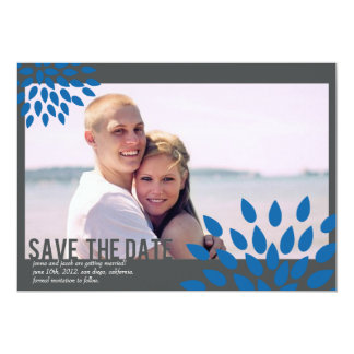 Photo Save the Date // Posh Petals // Cerulean 13 Cm X 18 Cm Invitation Card
