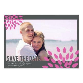 Photo Save the Date // Posh Petals // Fuchia 13 Cm X 18 Cm Invitation Card