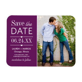 Photo Save the Date | Purple Rectangular Photo Magnet