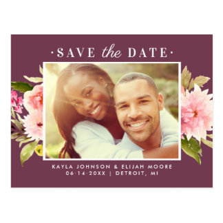 Photo Save the Date   Watercolor Flowers Postcard