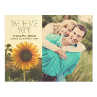 Photo save the date with sunflower postcard