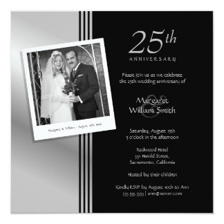 Photo Silver 25th Wedding Anniversary Party Card