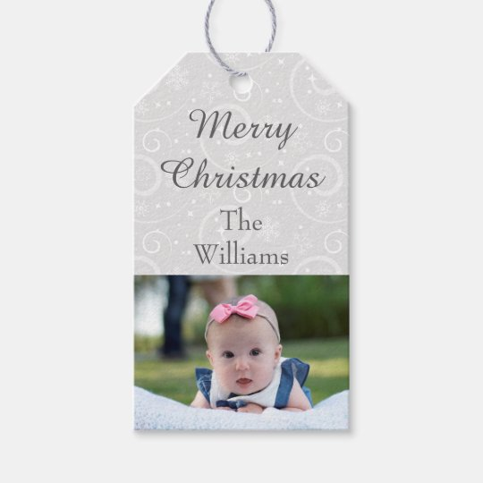 Photo Silver Snowflakes Gift Tags