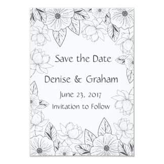 Photo Sketched Hand Drawn Flowers Save the Date Card