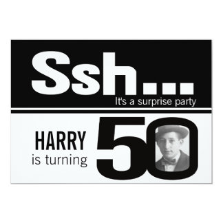 Photo ssh men black white 50th birthday invite