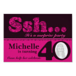 "Photo ssh surprise pink 40th birthday invite 3.5"" x 5"" invitation card"