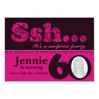 Photo ssh surprise pink 60th birthday invite
