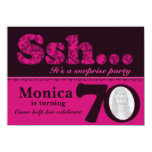 "Photo ssh surprise pink 70th birthday invite 4.5"" x 6.25"" invitation card"