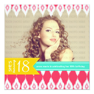 Photo Summer Colors Fab Birthday Party Ikat Card