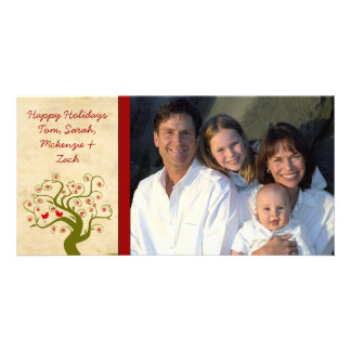 Photo Swirl Tree Cute Bird Snowflake Happy Holiday Photo Card Template