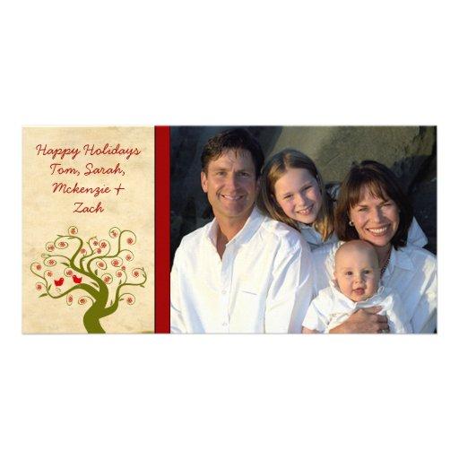 Photo Swirl Tree Cute Bird Snowflake Happy Holiday Photo Greeting Card