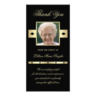 Photo Sympathy Memorial Thank You Photo Card Black