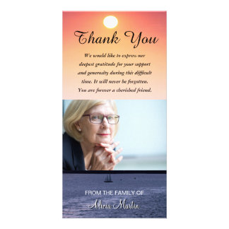 Photo Sympathy Memorial Thank You Sailboat Sunset Card