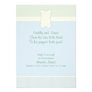Photo Teddy Bear - Dots & Stripes - Blue & Green Personalized Invitations