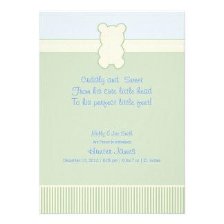 Photo Teddy Bear - Dots & Stripes - Green & Blue Custom Invitations