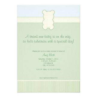 Photo Teddy Bear - Dots & Stripes - Green & Blue Personalized Invitations