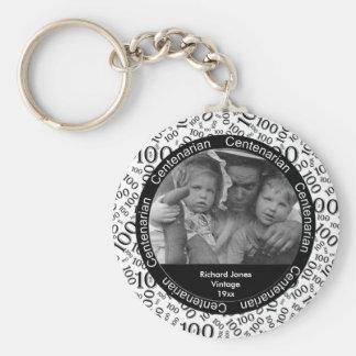 Photo Template: 100th Birthday Centenarian Black Key Ring