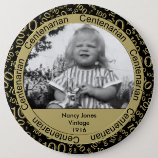 Photo Template: 100th Birthday Centenarian Gold 6 Cm Round Badge