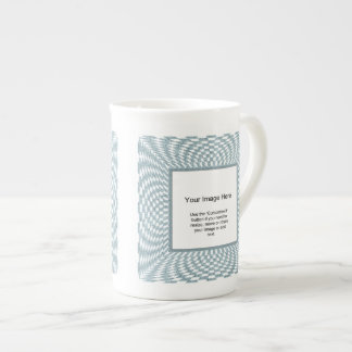 Photo Template - Aqua and White Distorted Checks Porcelain Mug