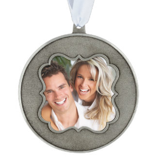 Photo Template Keepsake Christmas Ornament Pewter Scalloped Ornament