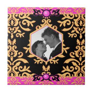 Photo Template Pink and Black Elegant Damask Tile