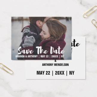 Photo template save the date business card