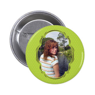 Photo template with polkadot pinback buttons