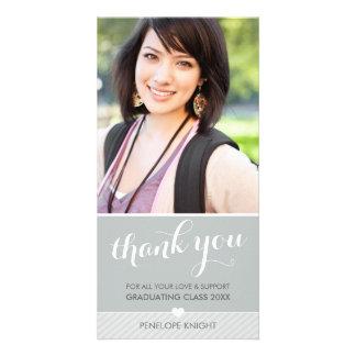 PHOTO THANK YOU script type graduate cute gray Photo Card