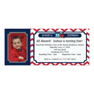 Photo Train Ticket - Red Chevron Card