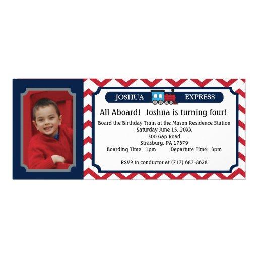 Photo Train Ticket - Red Chevron Custom Invitation