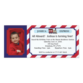 Photo Train Ticket - Red Stripes 10 Cm X 24 Cm Invitation Card