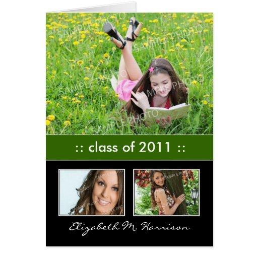 Photo Trio Custom Graduation Announcement Card