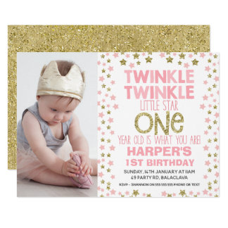 Photo Twinkle Little Star Birthday Invitation