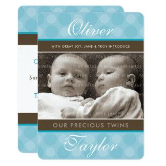 PHOTO TWINS BIRTH ANNOUNCEMENT cute boys blue
