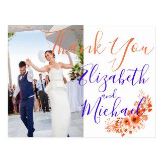 Photo, Ultraviolet/ purple/orange Wedding ThankYou Postcard