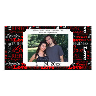 Photo Valentine's Day Word Collage Personalized Photo Card Template