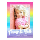 Photo Watercolor Rainbow Thank You Card