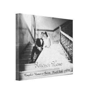 Photo Wedding Canvas, Forever Love and Your Text Canvas Print
