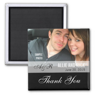 Photo Wedding Favor Magnets Black