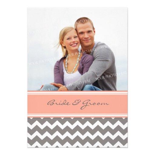 Photo Wedding Invitations Grey Coral Chevron