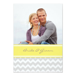 "Photo Wedding Invitations Grey Yellow Chevron 5"" X 7"" Invitation Card"