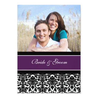 "Photo Wedding Invitations Plum Black Damask 5"" X 7"" Invitation Card"