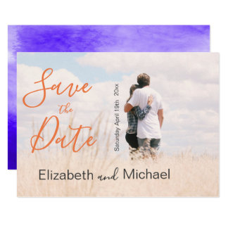Photo Wedding  purple/ultraviolet Save the Date Card