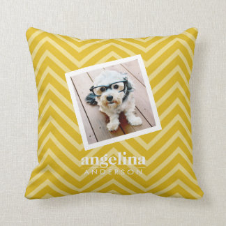 Photo with Gold Chevron Pattern and Custom Name Throw Pillow