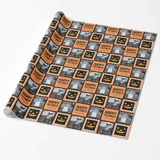 Photo with Happy Halloween Pumpkin Custom Greeting Wrapping Paper